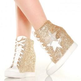 Sneakersy Złote Brokatowe Na Koturnie Biały Nosek