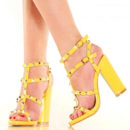 Sandały Żółte Gladiatorki Słupek Duże Ćwieki 4888