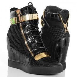 Sneakersy - Czarne Wężowe z Siatką - Złote Blaszki