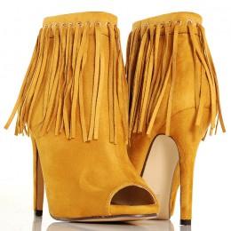 Botki Żółte Frędzle Zjawiskowe Sexy Kobiece 4893