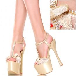 Sandały - GoGo - Złote z Koronką Cyrkonie