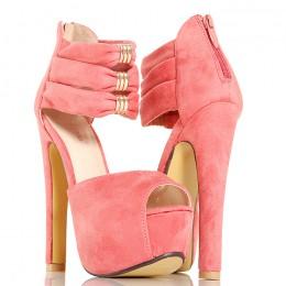Sandały Różowe Na Zgrabnym Słupku - Złote Blaszki