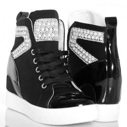 Sneakersy - Czarne Trampki - Cyrkonie i Perły