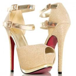 Sandały - Złote Połyskujące Platformy Złote Paski