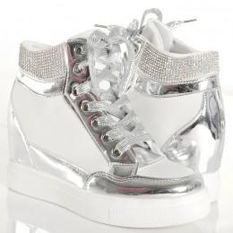Sneakersy - Biało Srebrne Trampki z Cyrkoniami