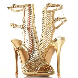 Sandały - Złote Gladiatorki - Siatka Odkryta Pięta