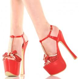 Sandały - GoGo - Czerwone z Koronką Cyrkonie