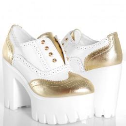 Botki - Biało Złote Ekstrawaganckie Ażurowe Wzory