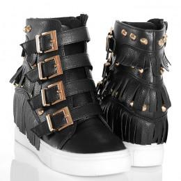 Sneakersy - Czarne Ze Złotymi Klamerkami Frędzle