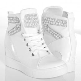Sneakersy - Białe Trampki - Cyrkonie i Perły