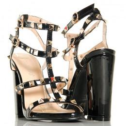 Sandały - Czarne Gladiatorki - Słupek Duże Ćwieki
