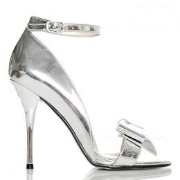 Sandały - Eleganckie Metaliczne Srebrne z Kokardą