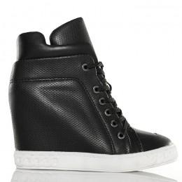 Sneakersy - Czarne Ażurowe - Wiązane z Przodu