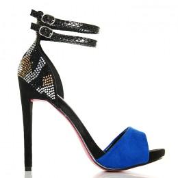 Sandały Niebieskie z Cyrkoniową Piętą - Dwa Paski