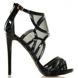 Sandały - Sexy Czarne Lakierowane Siateczkowe
