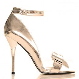 Sandały Eleganckie Metaliczne Złote z Kokardą 5000