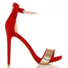 Sandały Zmysłowe - RED - Złota Blaszka Złoty Pasek