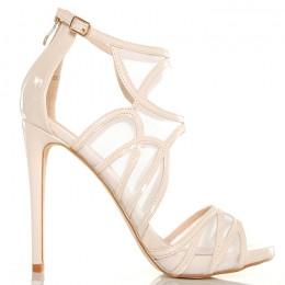 Sandały - Sexy Beżowe Lakierowane Siateczkowe 5013