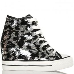 Sneakersy - Czarne Cekiny - Na Koturnie