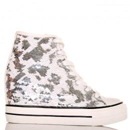 Sneakersy - Białe Cekiny - Na Koturnie