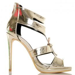 Sandały Złote Metaliczne Gladiatorki Złota Klamra