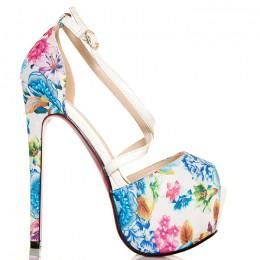 Sandały - Białe W Pastelowe Kwiaty - Folklor