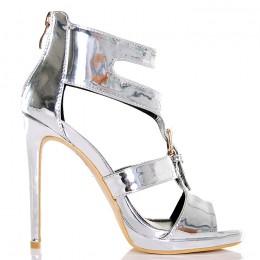 Sandały Srebrne Metaliczne Gladiatork Złota Klamra