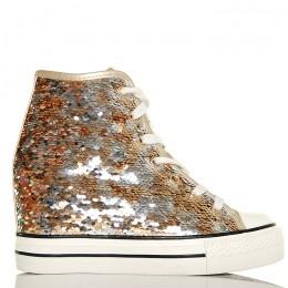 Sneakersy - Złote Cekiny - Na Koturnie