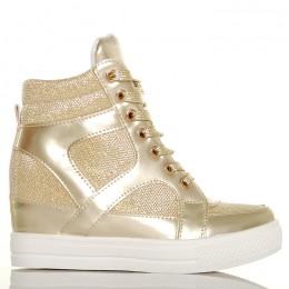 Sneakersy - Złote Błyszczące - Złote Sznurówki