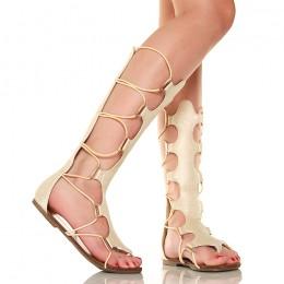 Sandały - Jasno Złote Wysokie Rzymianki - Japonki