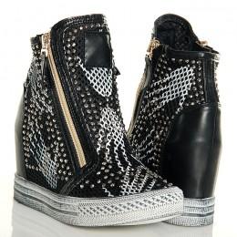 Sneakersy Czarne Nakrapiane Złote Zamki Siatka 5071