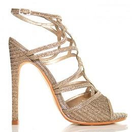 Sandały Mega Kobiece Złote Delikatne Paseczki 5101