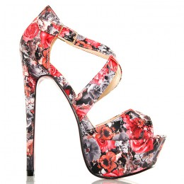 Sandały - Imponujące Kwiatowe - Przeplatane Paski 5125