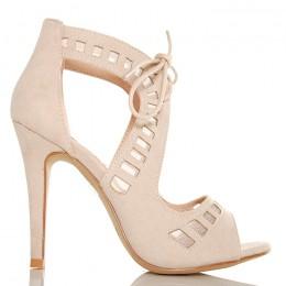 Sandały - Urocze Zamszowe Beżowe - Wiązane