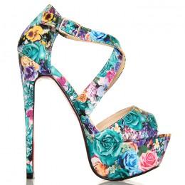 Sandały Imponujące Kwiatowe Przeplatane - Zielone