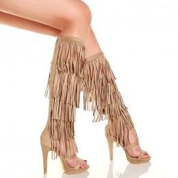 Sandały Wysokie Gladiatorki z Frędzlami Beżowe 5184