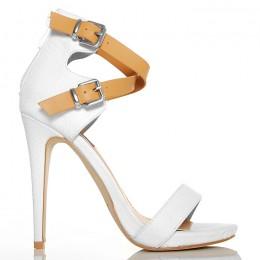 Sandały - Beżowo Białe Subtelne - Mega Kobiece