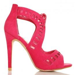 Sandały - Urocze Zamszowe Różowe - Wiązane
