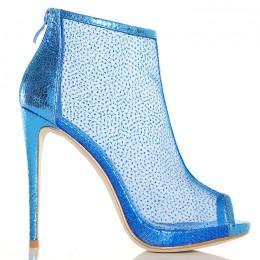 Botki Metaliczne Niebieskie Kobieca Siateczka 5187