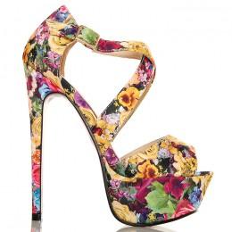 Sandały Imponujące Kwiatowe Przeplatane - Żółte