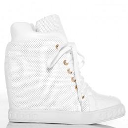 Sneakersy - Białe Ażurowe - Wiązane z Przodu