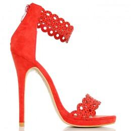Sandały - Czerwone Ażurowe Subtelne - Mega Sexy