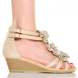 Sandały Beżowe Kobiece Różyczki Na Koturnie 5210
