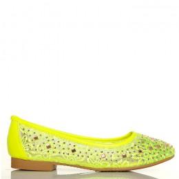 Balerinki Neonowe Zielone Koronkowe - Cyrkonie