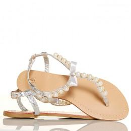 Sandały - Delikatne Srebrne Cyrkonie i Perły