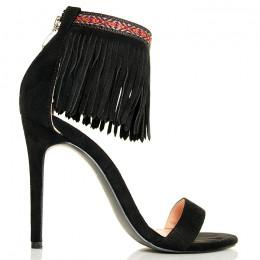 Sandały Czarne Z Modna Obrożą Na Kostece - Frędzle