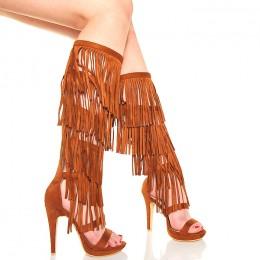 Sandały - Wysokie Gladiatorki z Frędzlami - Camel