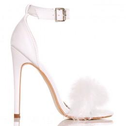 Sandały Buduarowe Sexy Białe Pióra - Szpilka