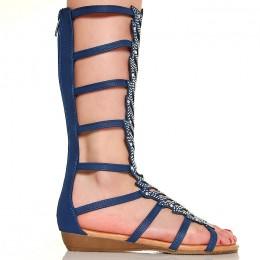 Sandały Hipnotyzujące Granatowe Cyrkonie 5226