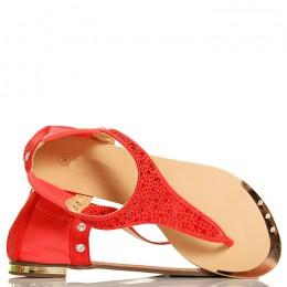 Sandały - Koralowe Japonki - Czerwone Cyrkonie